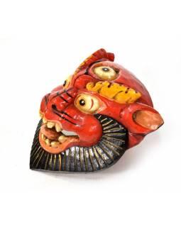 Dřevěná maska, sněžný lev, ručně malovaná, 18x22cm