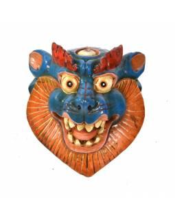 Dřevěná maska, sněžný lev, ručně malovaná, 20x23cm