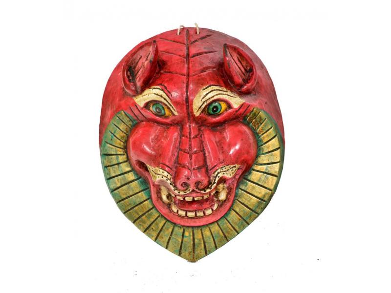 Dřevěná maska, sněžný lev, ručně malovaná, 21x27cm