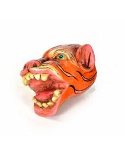 Dřevěná maska, tygr, ručně malovaná, 8x9cm