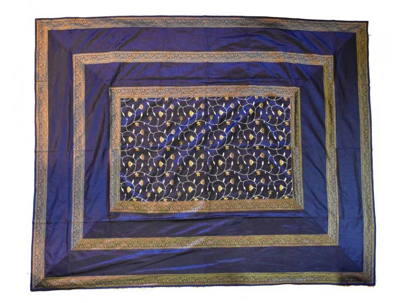 Vyšívaný přehoz se čtyřmi polštářky,modrý, 220x270cm