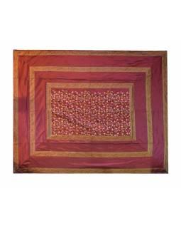 Vyšívaný přehoz se čtyřmi polštářky,purpurový, 220x270cm
