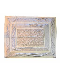 Vyšívaný přehoz se čtyřmi polštářky, stříbrný, 220x270cm
