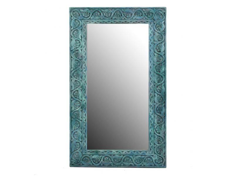 Zrcadlo z teakového dřeva, ručně vyřezávané, 70x3x120cm