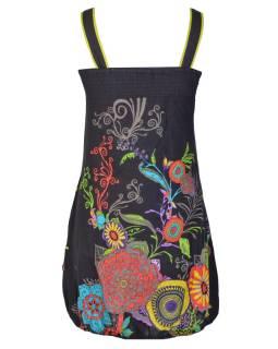 """Šaty, krátké, bez rukávů, """"Eolia"""", černé, tisk květy, kapsy, balónové"""