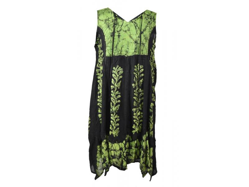 Černo-zelené batikované šaty bez rukávů, výšivka