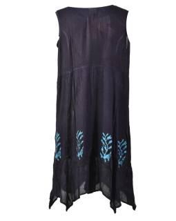 Tyrkysové batikované šaty bez rukávů, výšivka