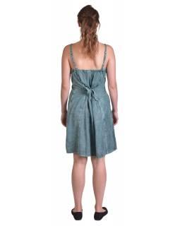 Lehké tyrkysové šaty na ramínka, výšivka