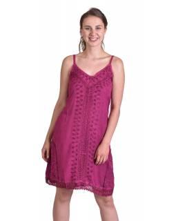 Lehké krátké tmavě růžové šaty na ramínka, výšivka, vázání na zádech
