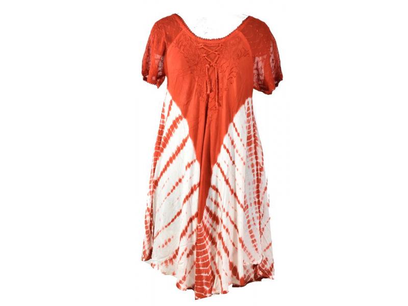 Červené batikované šaty s krátkým rukávem, výšivka