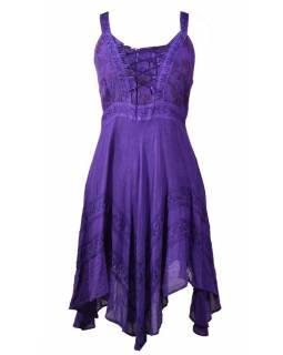 Krátké fialové šaty na ramínka, výšivka