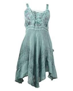 Krátké mentolové šaty na ramínka, výšivka