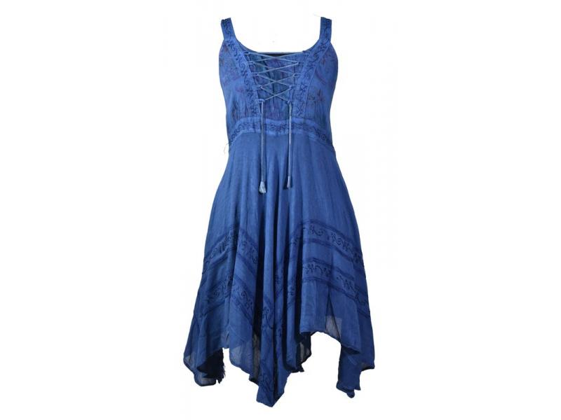 Krátké modré šaty na ramínka, výšivka