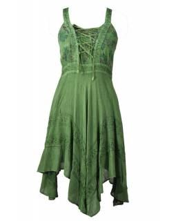 Krátké zelené šaty na ramínka, výšivka