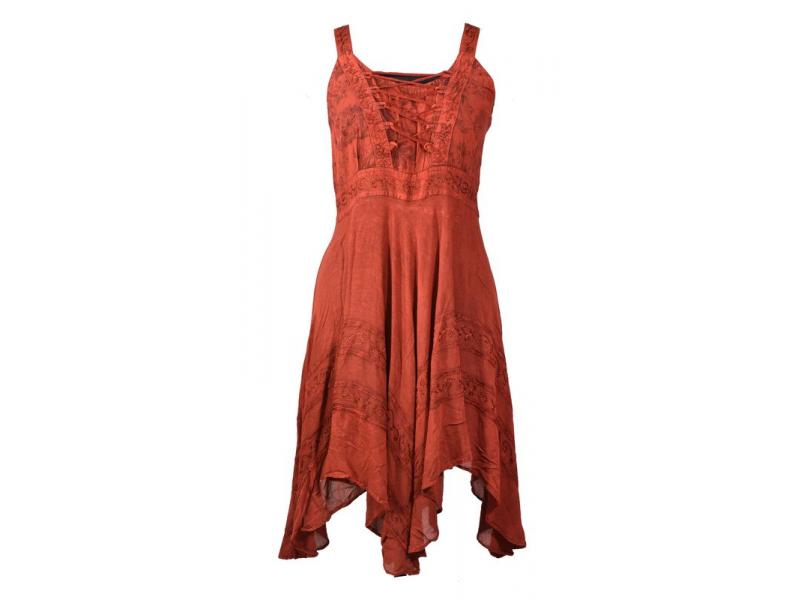 Krátké červené šaty na ramínka, výšivka