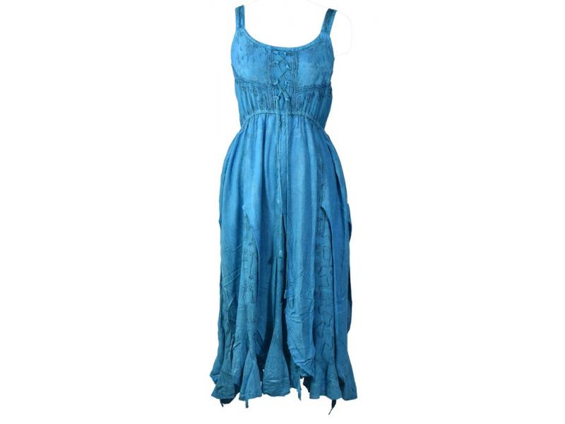 Dlouhé tyrkysové šaty na ramínka, výšivka a ruční práce