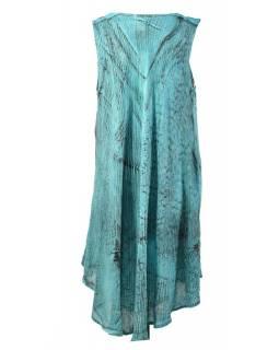 Krátké mentolové šaty bez rukávu, potisk, výšivka