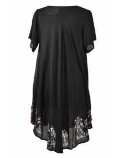 Krátké černé šaty s rukávkem, výšivka, potisk