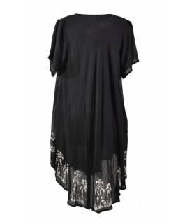Krátké černé šaty s rukávkem, výšivka