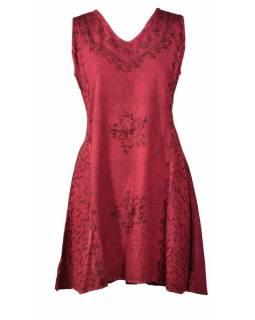 Krátké vínové šaty bez rukávu, výšivka