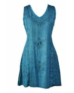 Krátké tyrkysové šaty bez rukávu, výšivka