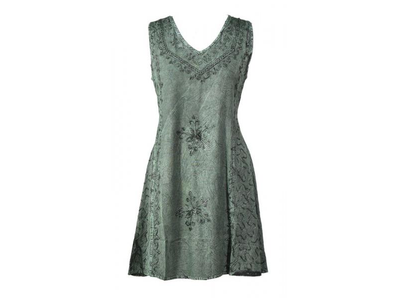 Krátké zelené šaty bez rukávu, výšivka