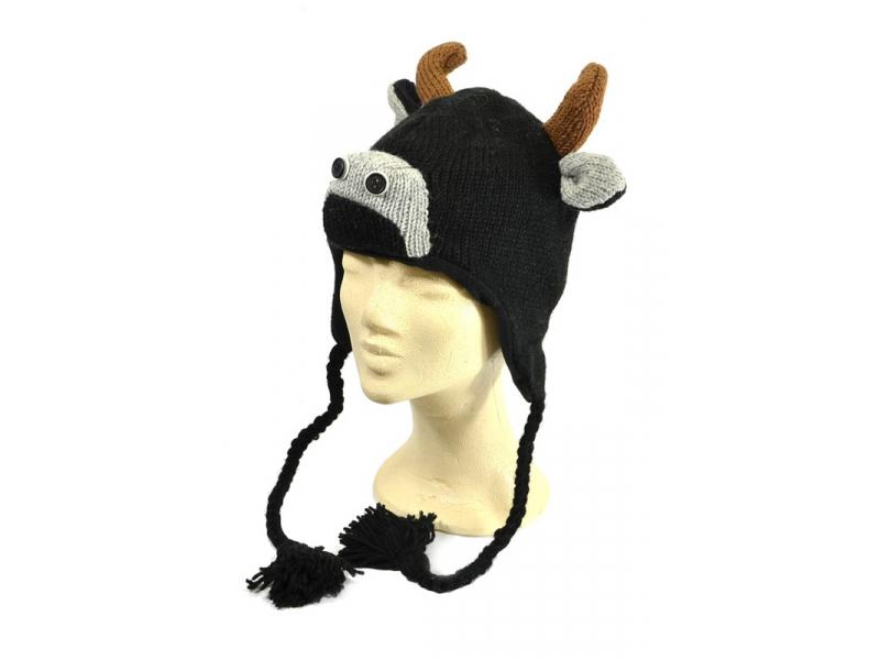 Čepice s ušima, býk, vlna, podšívka