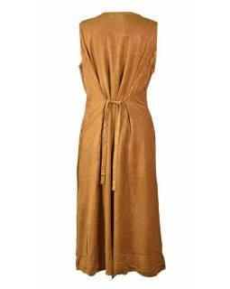 Dlouhé oranžové šaty bez rukávu, výšivka