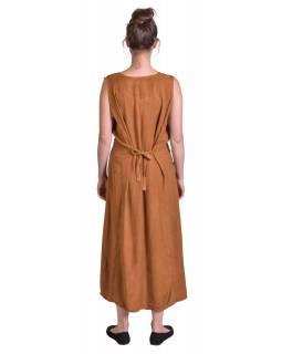 Dlouhé volné hnědo-oranžové šaty bez rukávu, výšivka, vázání na zádech