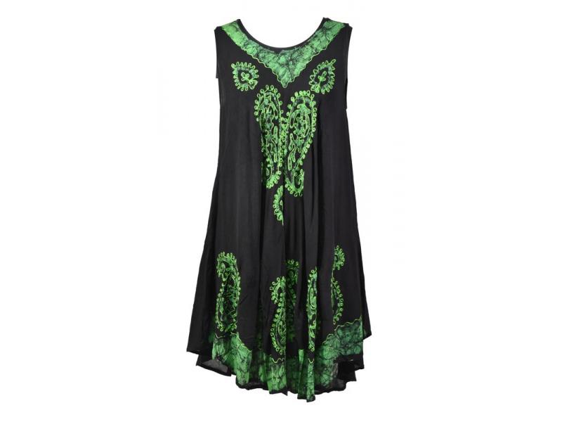 Krátké černo-zelené šaty bez rukávu, výšivka