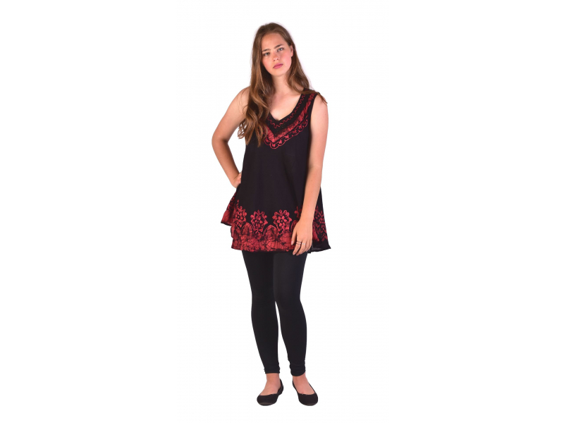 Letní volná halenka bez rukávu, výšivka, černo-červená