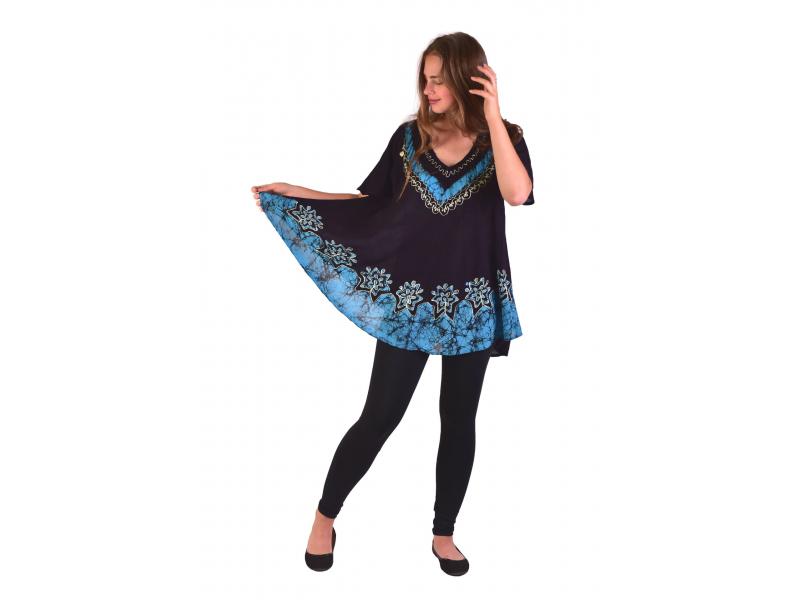 Letní černo-modrá volná halenka, ruční výšivka, krátký rukáv
