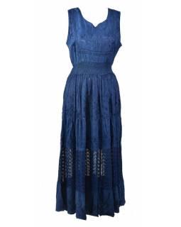 Dlouhé modré šaty bez rukávu, výšivka, pásek