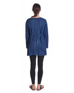 Dlouhé khaki šaty bez rukávu, výšivka, pásek