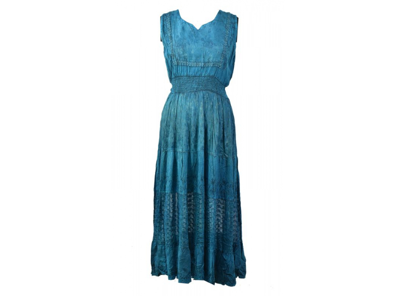Dlouhé tyrkys šaty bez rukávu, výšivka, pásek