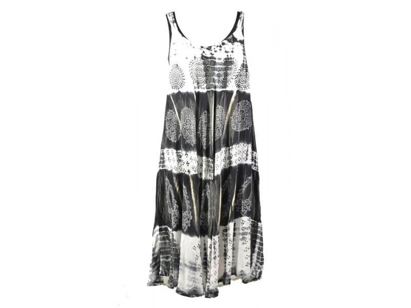 Krátké světlé šaty na ramínka, výšivka