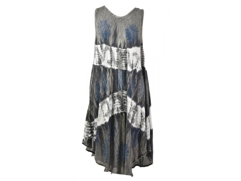 Delší světlé šaty na ramínka, potisk