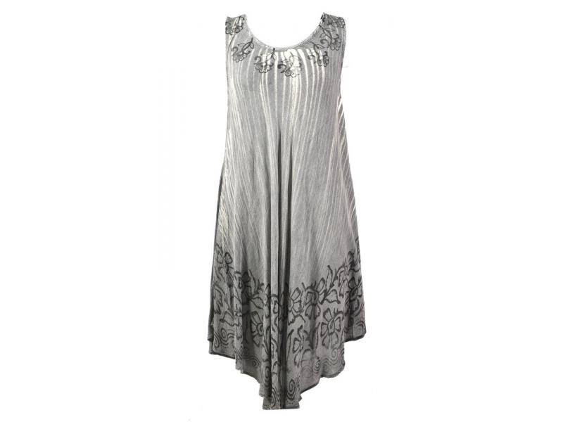 Dlouhé šedé šaty bez rukávu, potisk