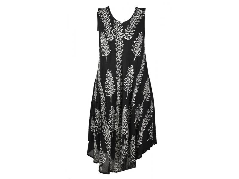 Dlouhé černé šaty bez rukávu, potisk