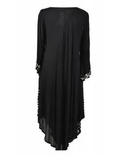 Dlouhé černé šaty/halena s rukávem, potisk