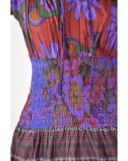 Dlouhé šaty s potiskem, balonový rukávek, fialové