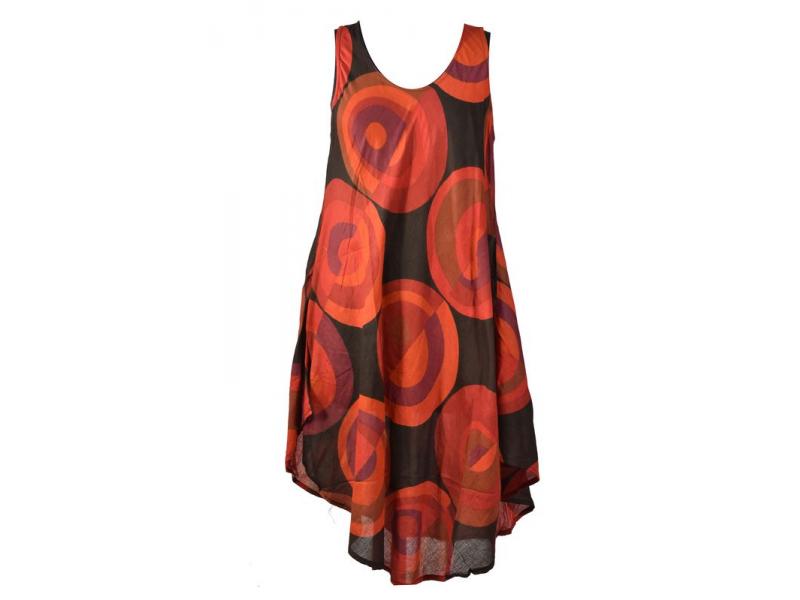 Krátké šaty s potiskem bez rukávu, round design, červená