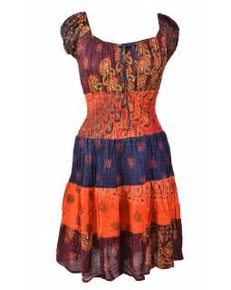 Krátké červené šaty s potiskem, balonový rukávek, patchwork design