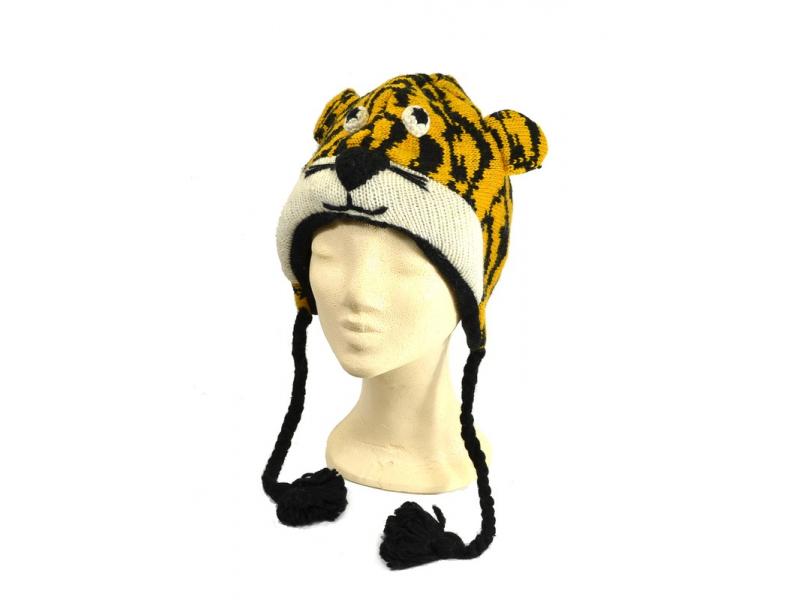 Čepice s ušima, tygr, vlna, podšívka
