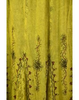 Dlouhá sukně s výšivkou, pružný pas, žlutá