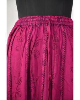 Dlouhá sukně s výšivkou, pružný pas, růžová