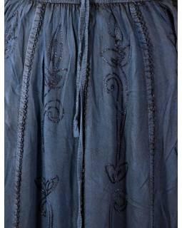 Dlouhá sukně s výšivkou, pružný pas, modrá