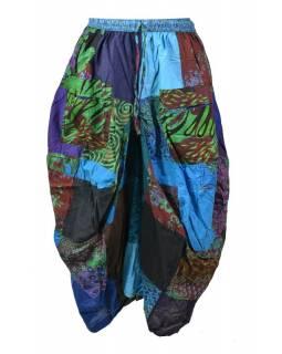 Balonová sukně s potiskem, patchwork design, tyrkysová
