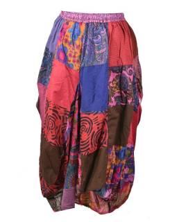 Balonová sukně s potiskem, patchwork design, růová