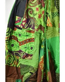 Balonová sukně s potiskem, patchwork design, zelená